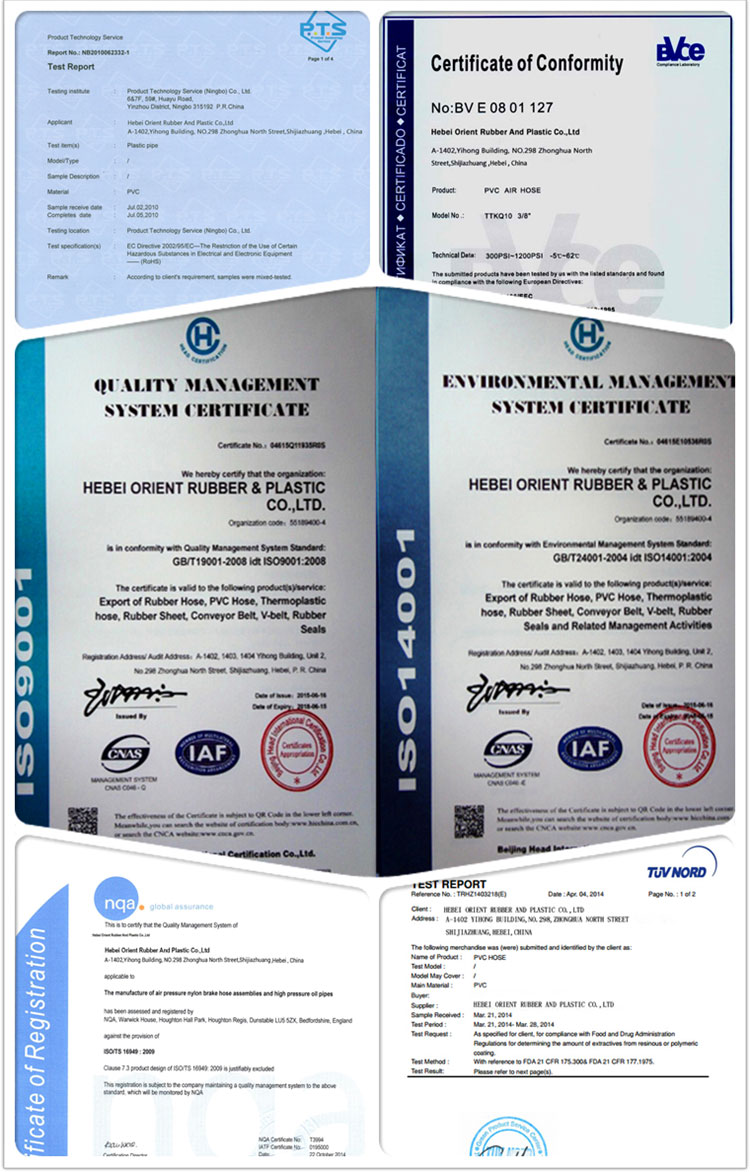 Certificate of lay flat hose